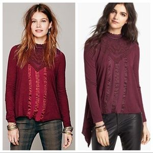 Free People Gibson Burgundy Mock Neck Top S